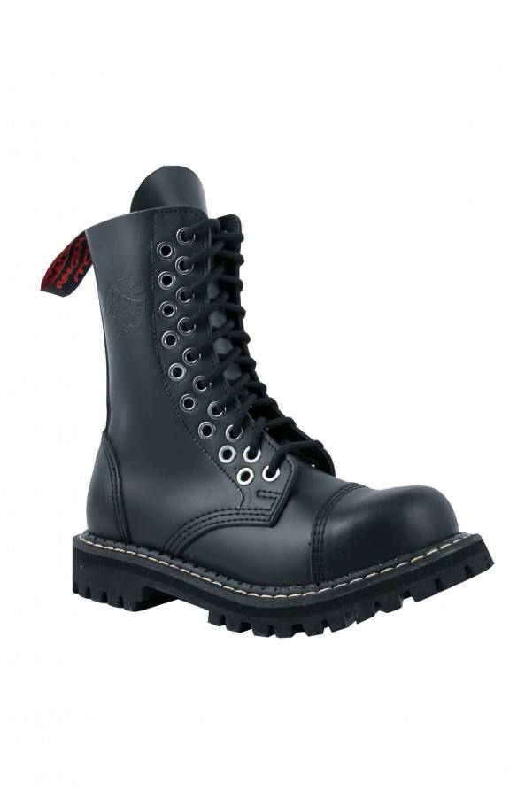 Angry Itch 10 Loch Stiefel Double Eyelets Schwarz