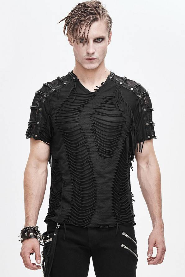 Devil Fashion Shirt Shred Mesh