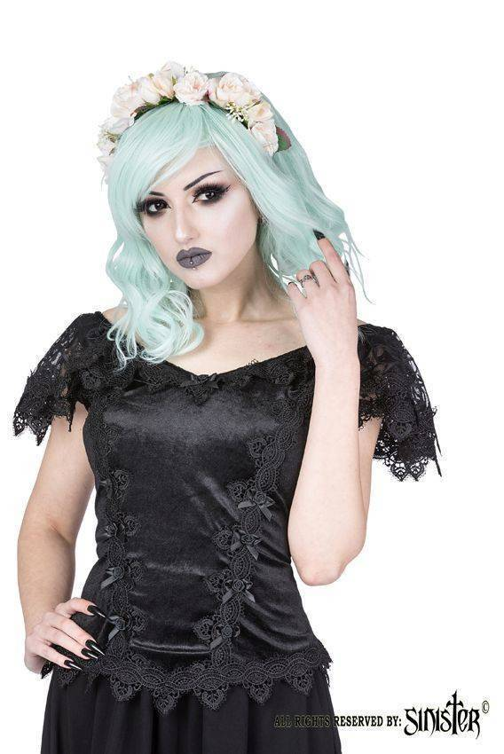 Sinister Bluse Roses & Bows - Abaddon Mystic Store